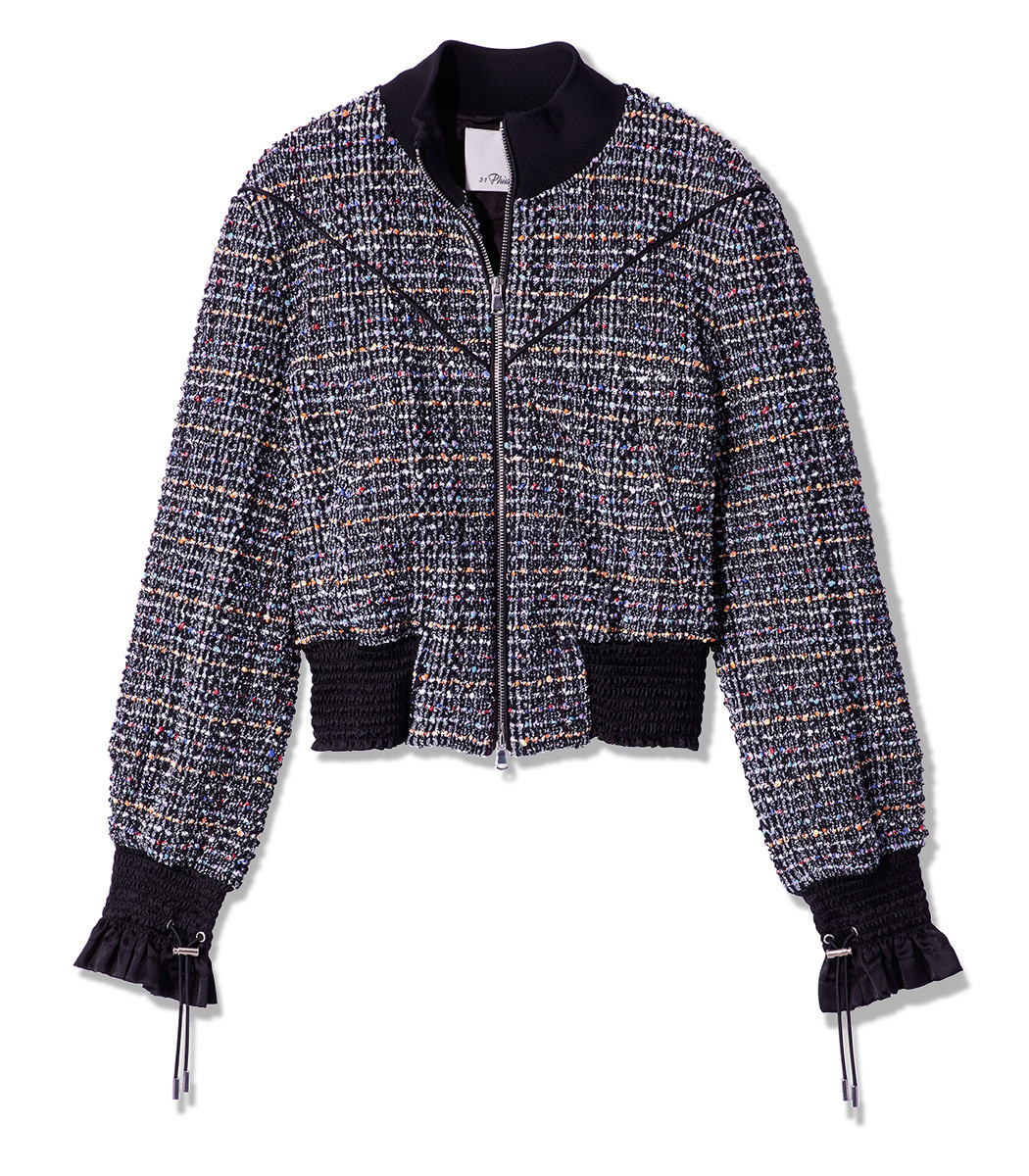 Textured Tweed Zip-Front Track Jacket in Black
