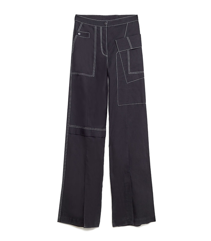 wide leg denim cargo pant