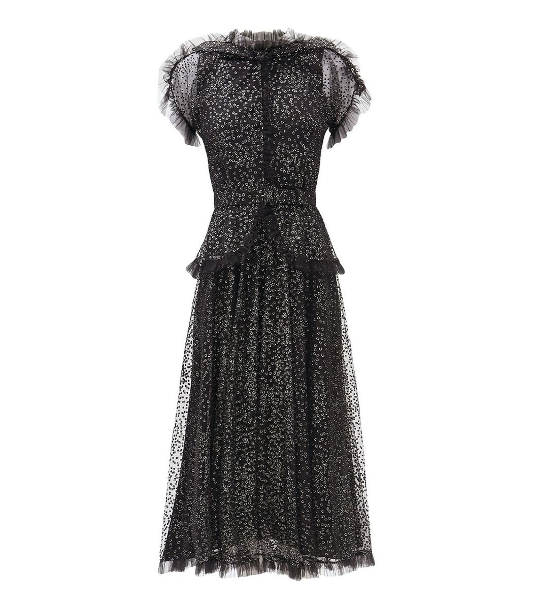 Rodarte Black And Silver Tulle Gown