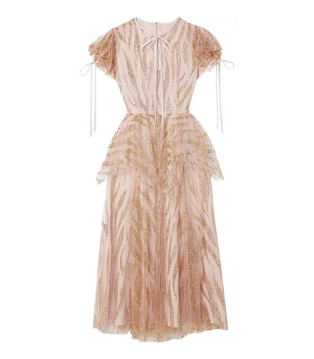 Rodarte Gold And Mauve Glitter Tulle Dress