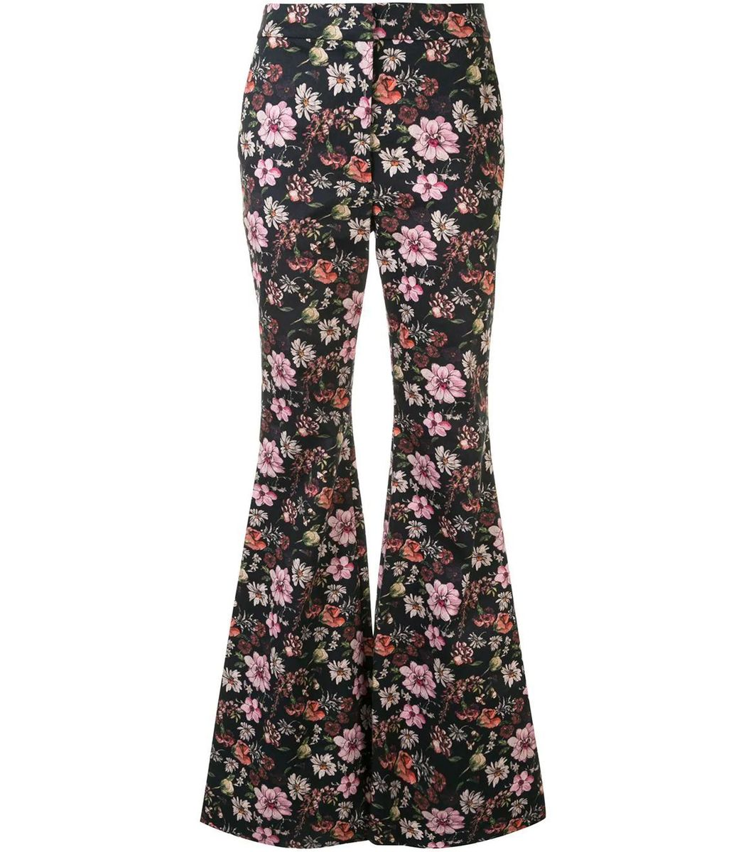 Adam Lippes Floral Printed High Waist Flare Pant