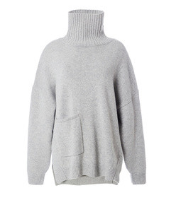 heather grey cashmere patch pocket turtleneck pullover