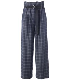 grey multicolor ghery plaid stella wide leg paperbag pants