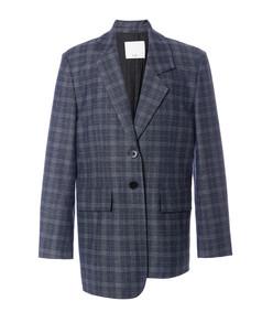 grey multicolor ghery plaid oversized asymmetrical blazer