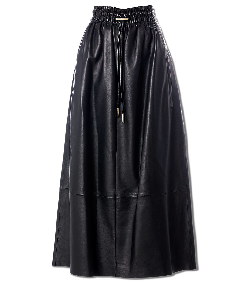 Tibi Leather Smocked Waist Full Skirt