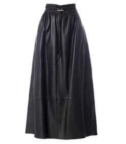 leather smocked waist full skirt