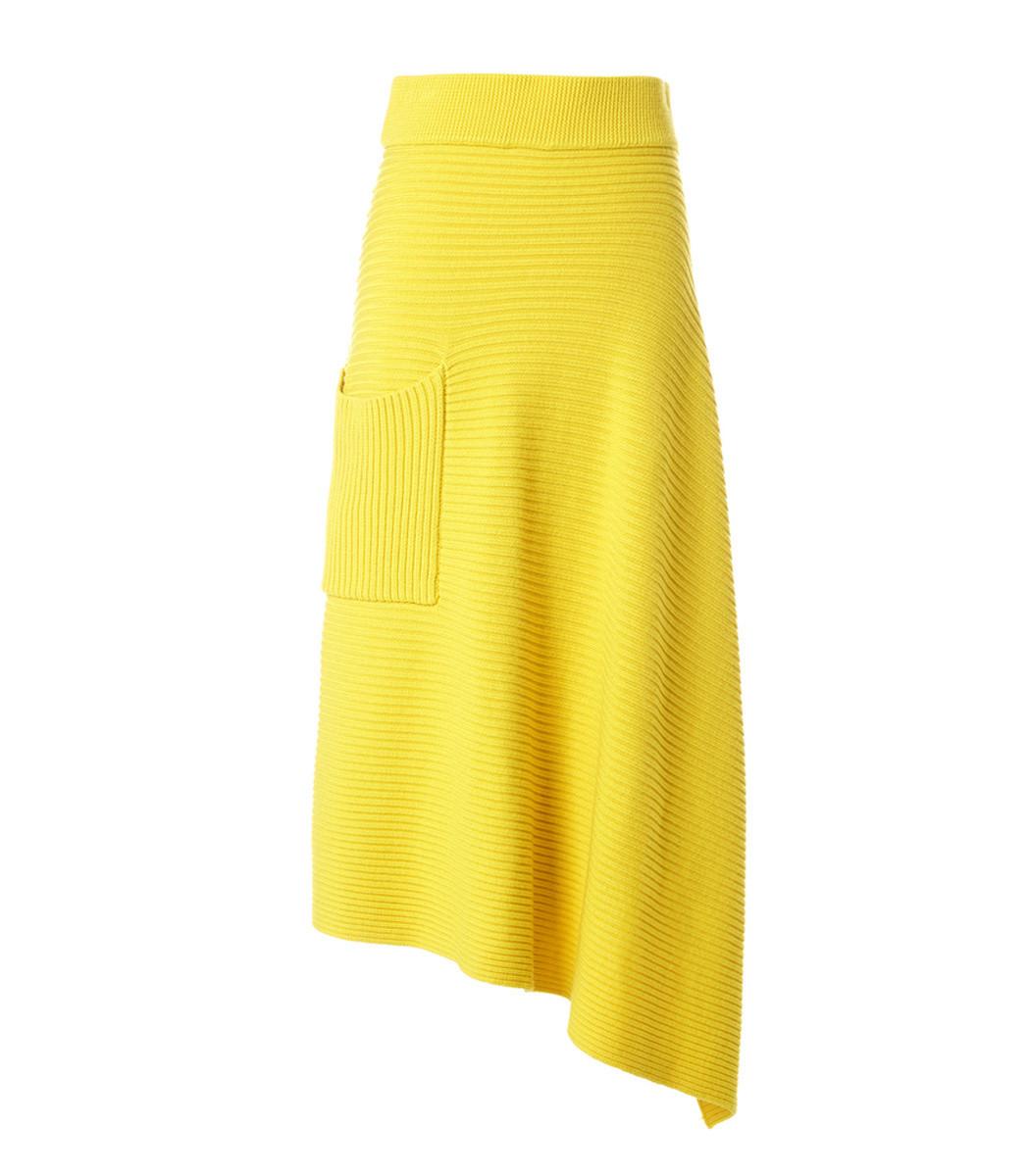 Tibi Yellow Merino Rib Origami Wrap Skirt