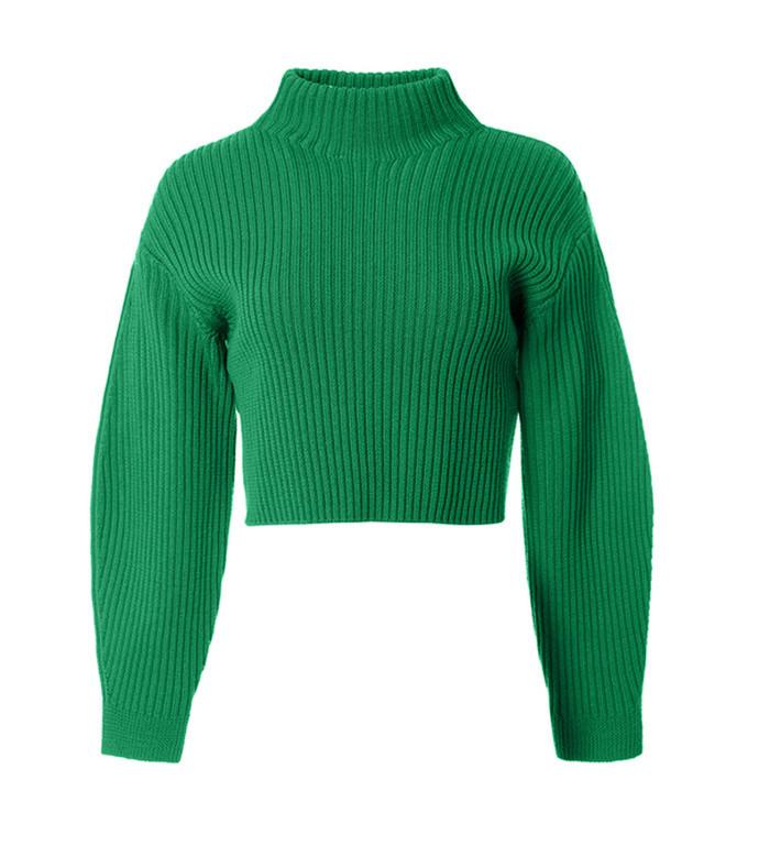 green merino rib sculpted sleeve pullover