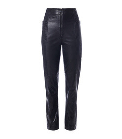 black leather high waisted zip front pants