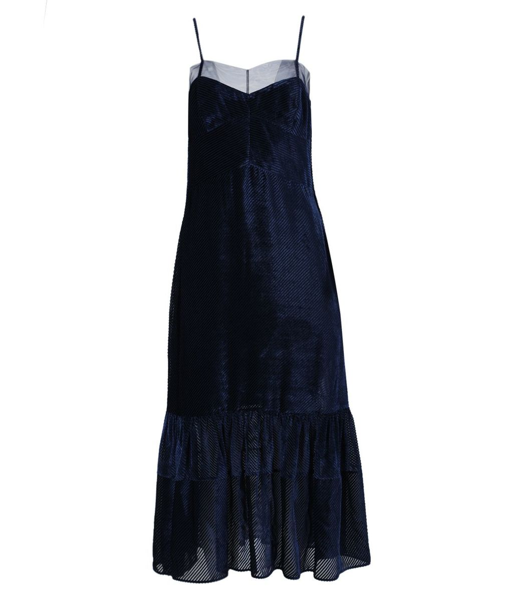 FENDI Blue Silk Corduroy Dress