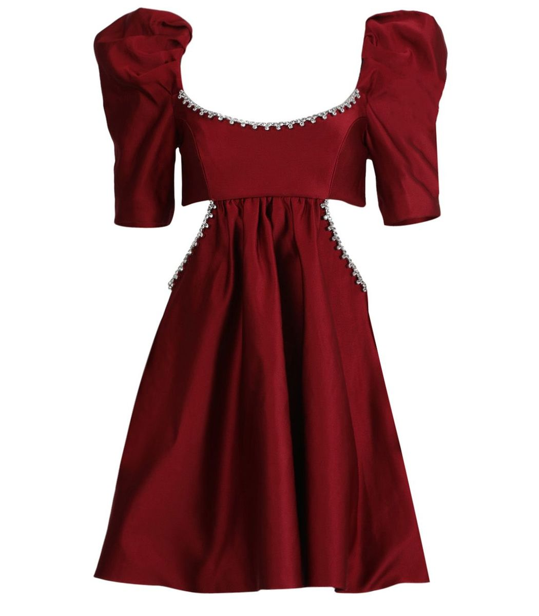 Area Red Embellished Cutout Dress