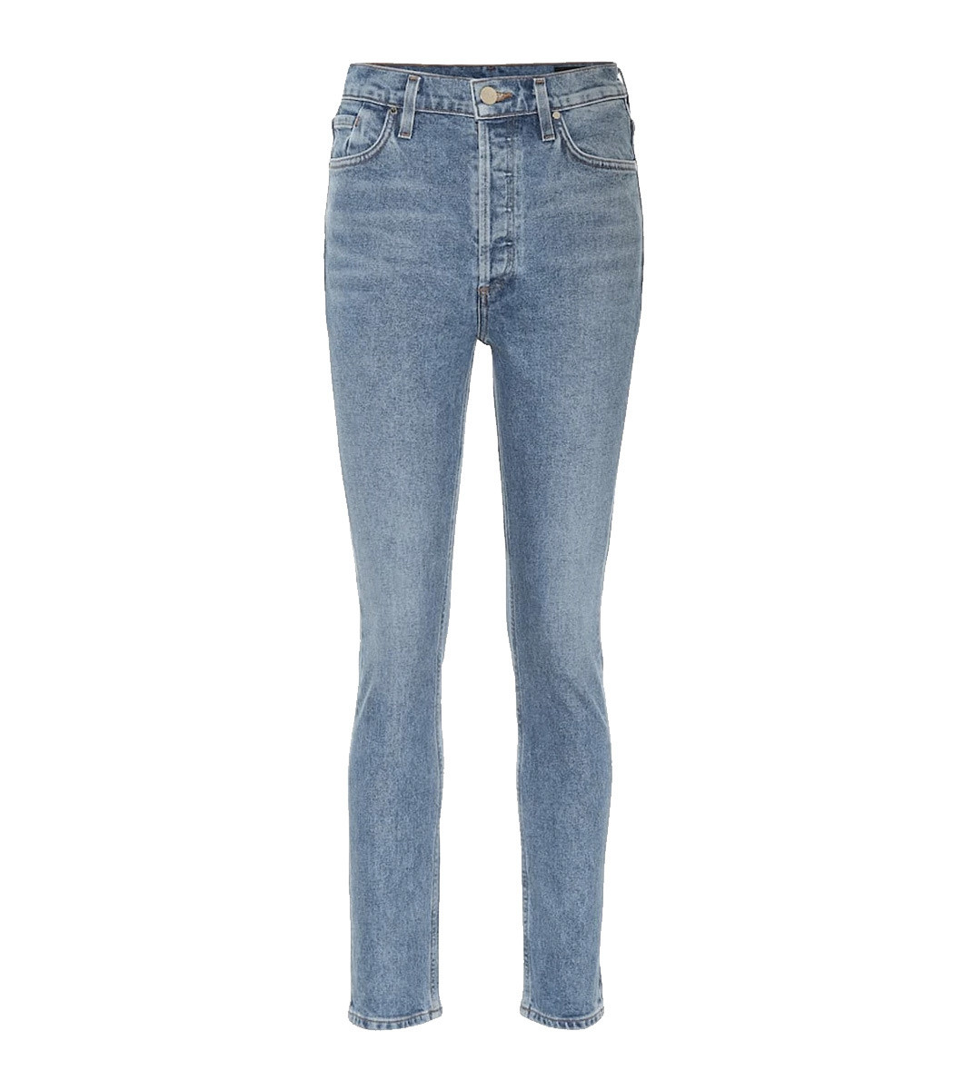 Goldsign The High-Rise Slim Straight Jeans in Blue