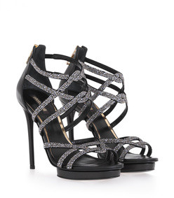 high heel sandals in leather with crystals