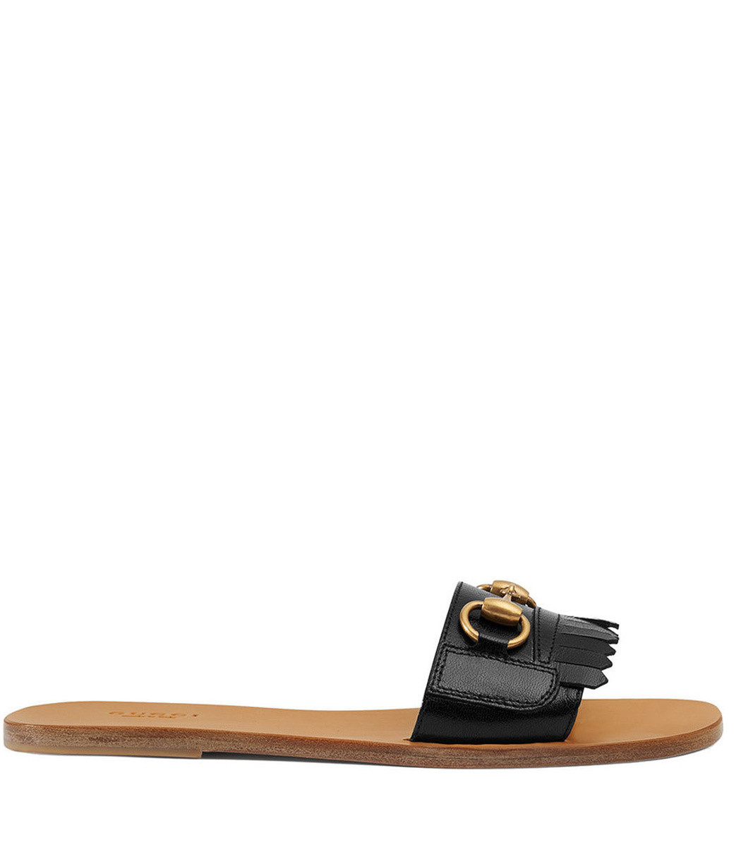 Gucci Varadero Fringed Slides , Black Leather Slides