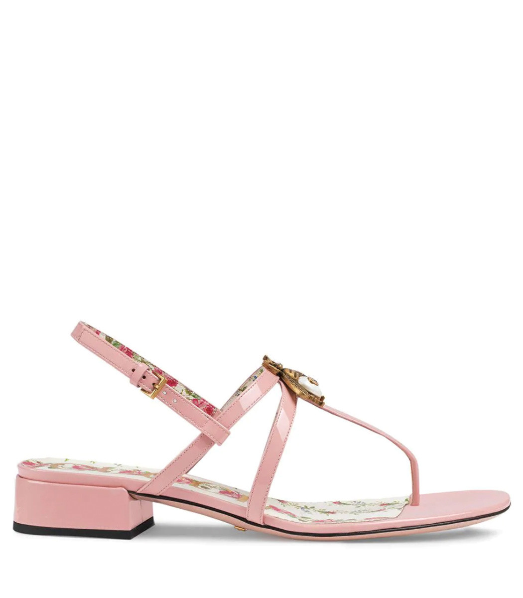 57a493c3f409 Gucci Bee Patent Leather Sandals - Light Pink Adjustable Strap Sandals