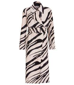 hairy calfskin animalier trench coat