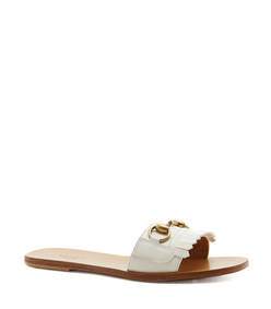 white open toe slide