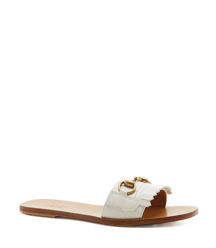 white open toe slide