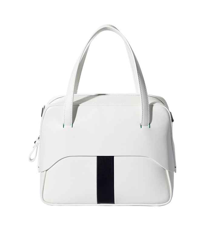 white/black mignon bag with removable strap by myriam schaefer