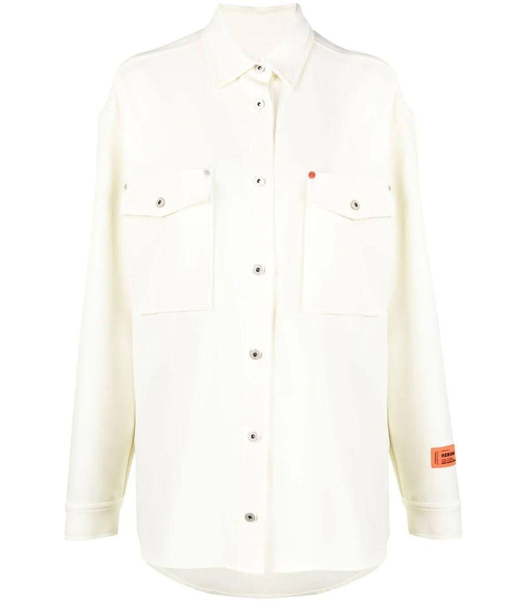 Heron Preston Shirts Pocket Detail Long Sleeve Button-up Shirt, Cream