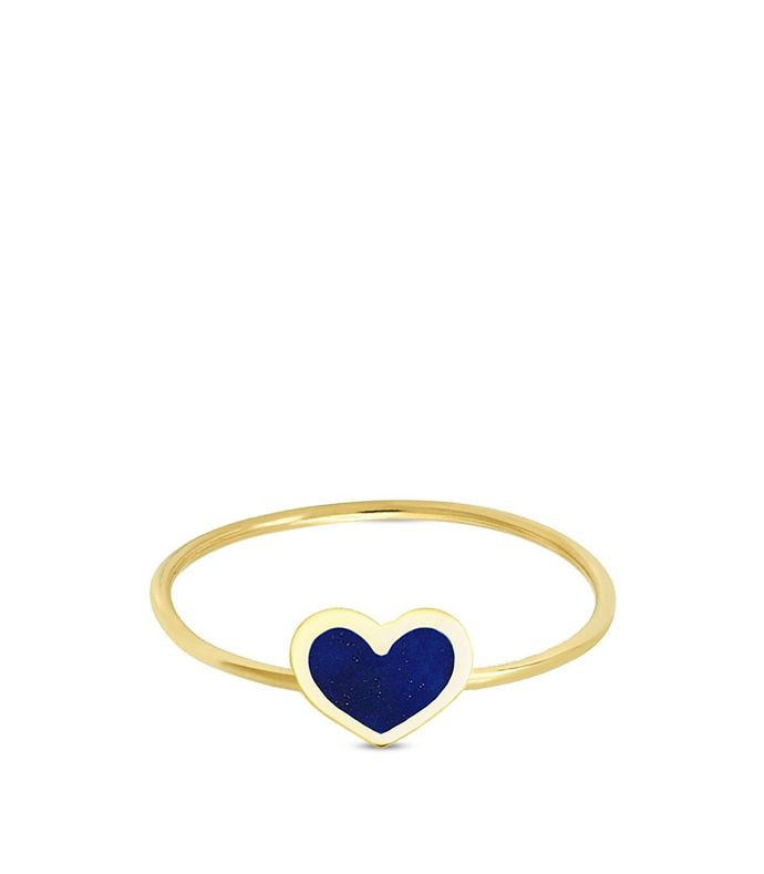 18k yellow gold mini lapis inlay heart ring