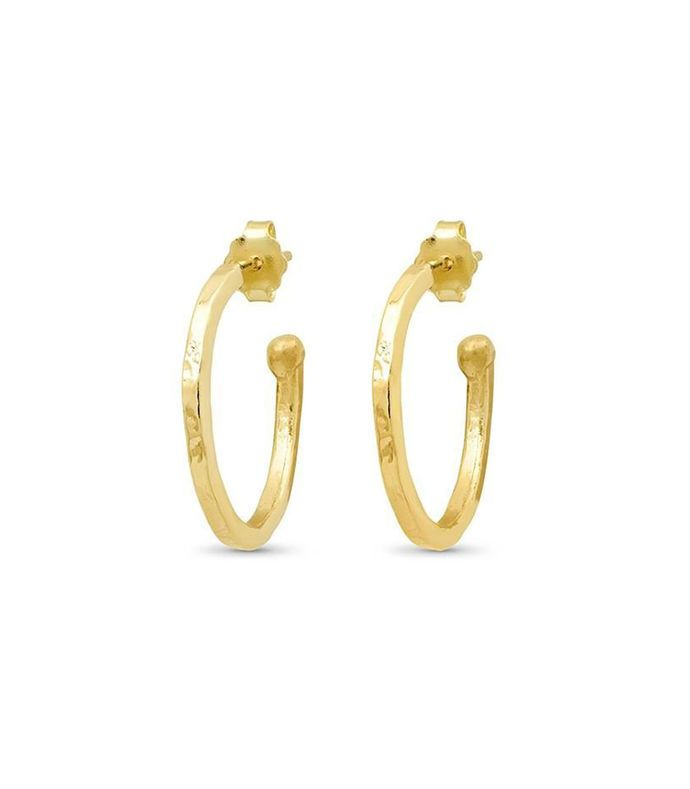18k gold small hammered bangle hoops
