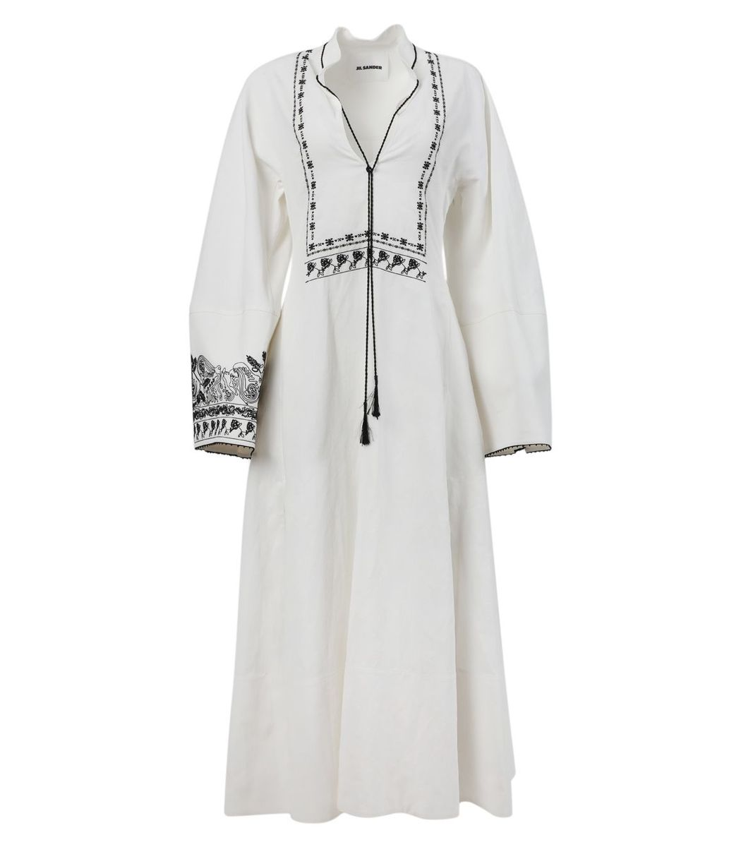 Jil Sander Antique White Long-sleeve Dress