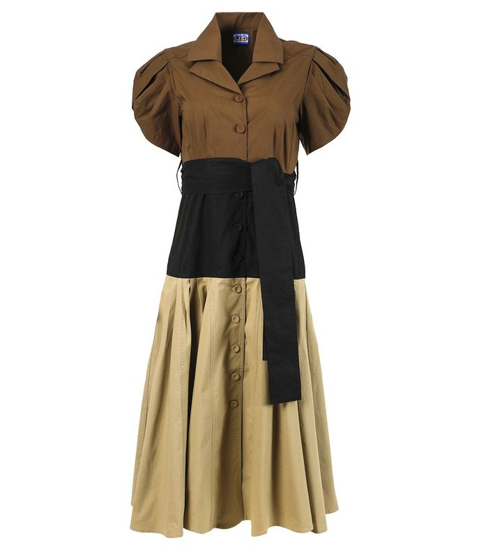 glades dress, black, sand and sepia