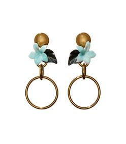 hibiscus golden hoop earring