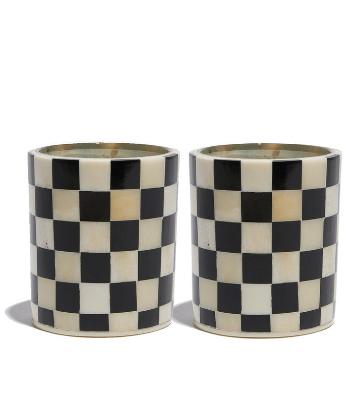 checkered votive candle