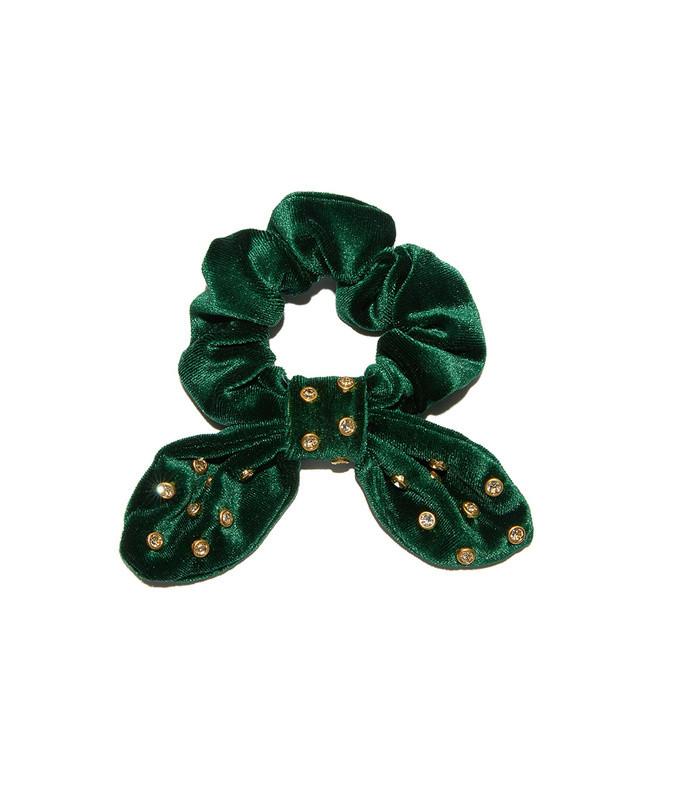 forest green velvet crystal headband