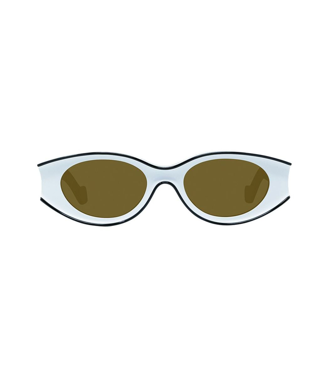 Loewe White And Black Small Oval Sunglasses