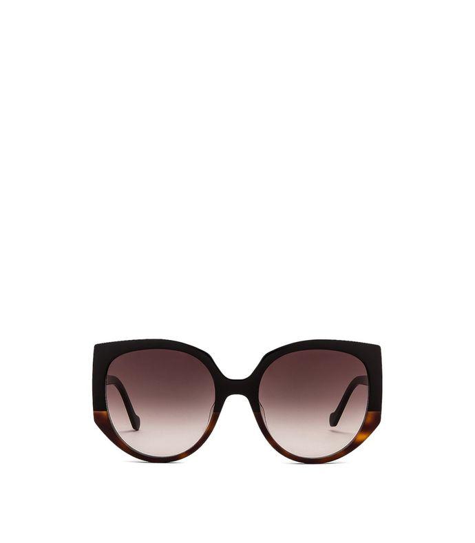 classic round oversized sunglasses brown