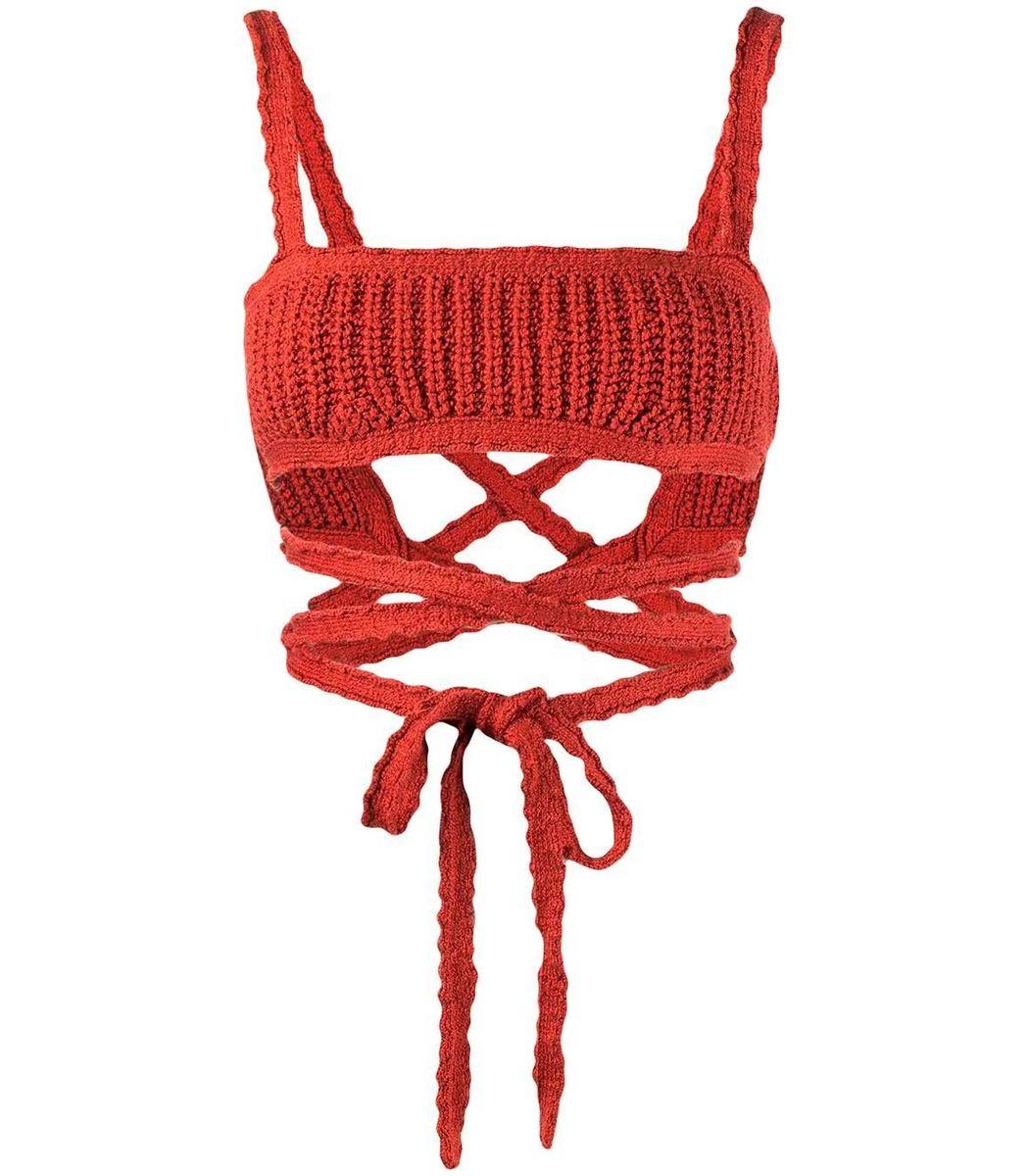 Alanui Bras Cacti Crochet Wrap Bra Top, Red Dulse