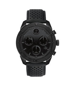 men's bold sport watch with black leather strap