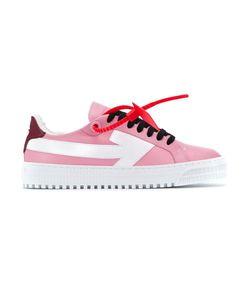 bubblegum pink leather arrow sneakers