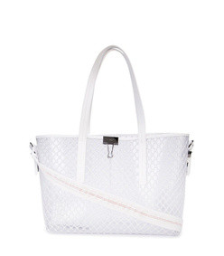 netted pvc leather trim tote bag