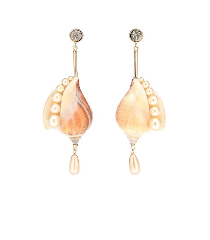 shell and faux pearl drop earrings