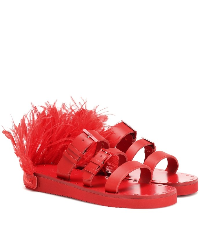 escape feather-trimmed leather sandals