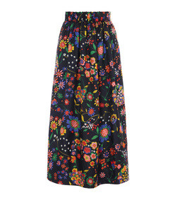 floral smocked waistband skirt