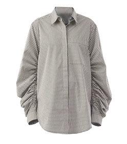 gathered-sleeve gingham shirt