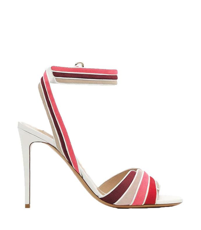 multi-colored suede sandal