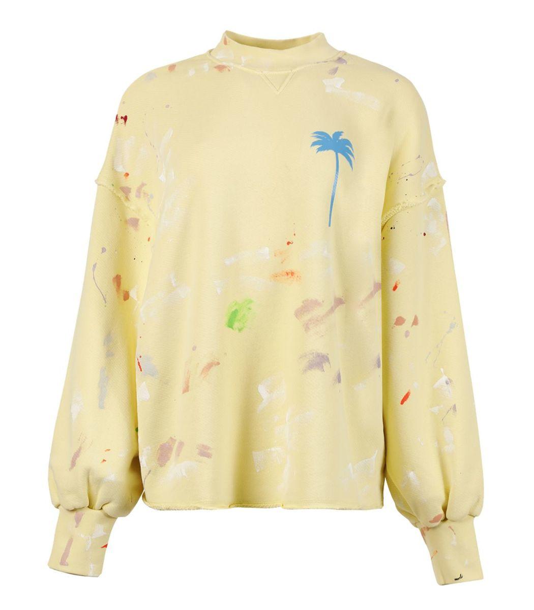Palm Angels Pxp Painted Crewneck Sweatshirt, Baby Yellow