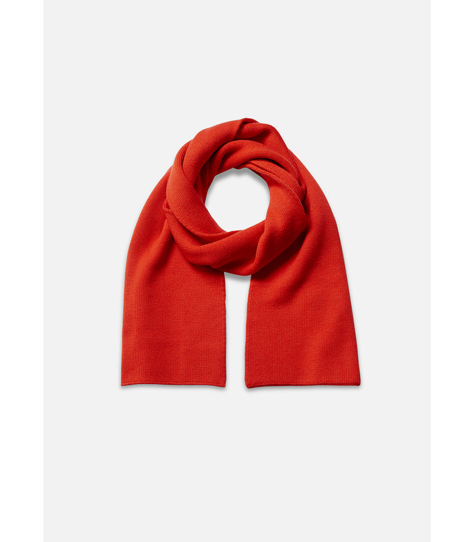 cherry red jacquard wool scarf