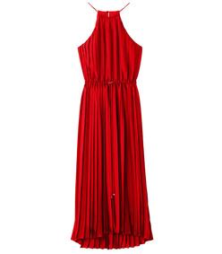 tomato red mendini twill pleated dress