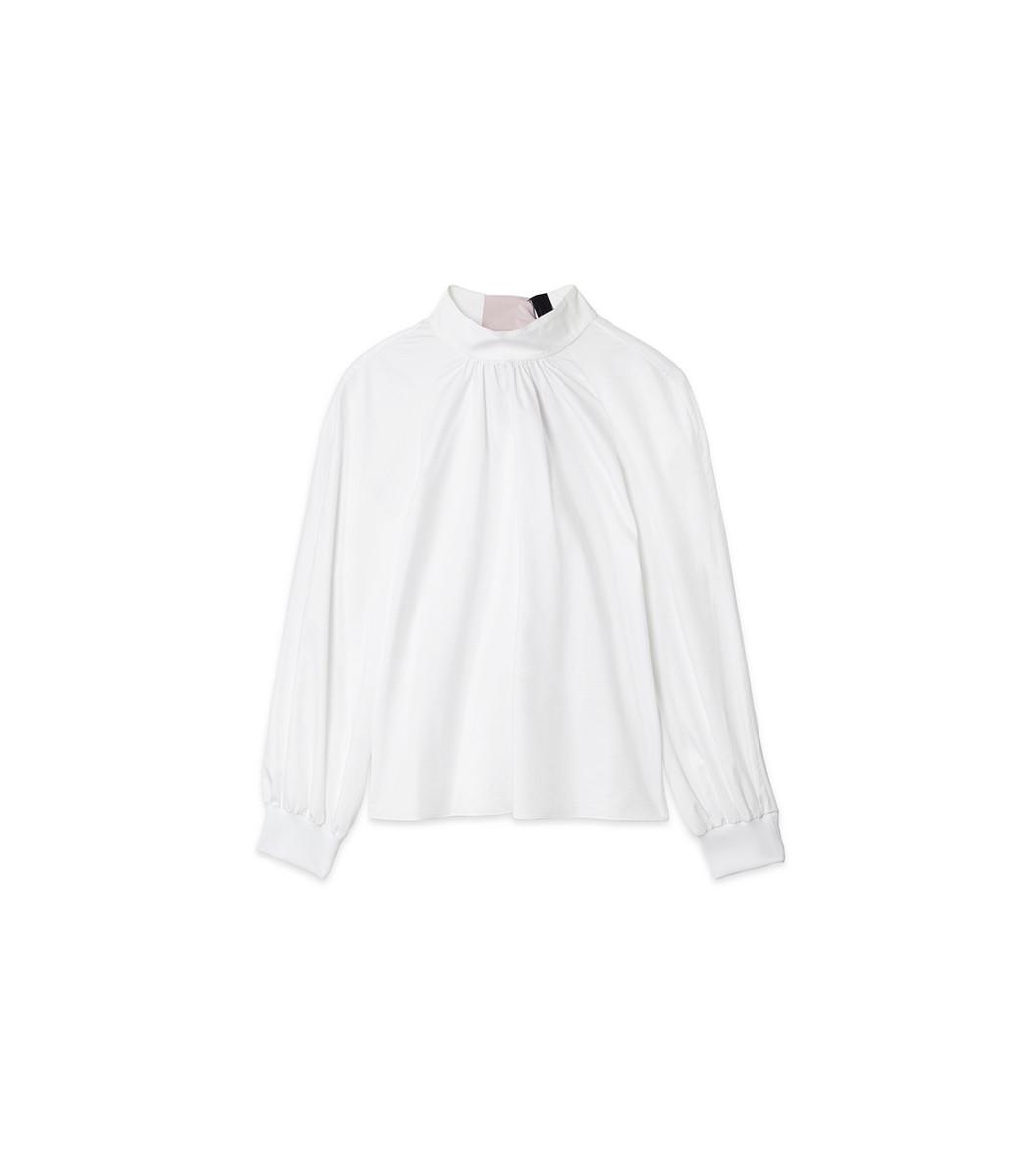 fd1a92b049d6 Tibi White Satin Poplin Shirred Neck Top With Contrast Tie
