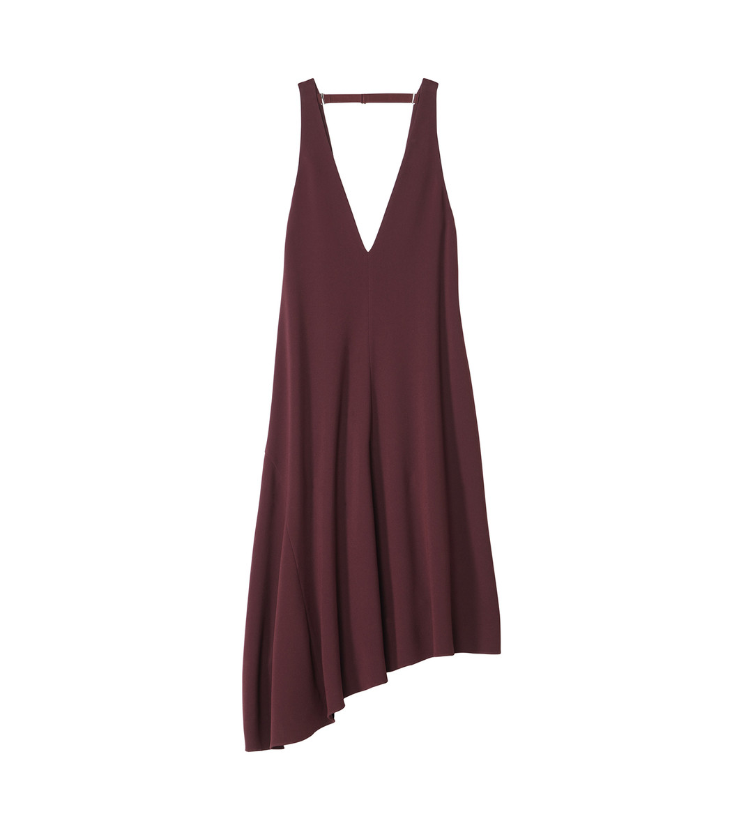 Dark Currant Triacetate V-Neck Draped Jumper in Burgundy