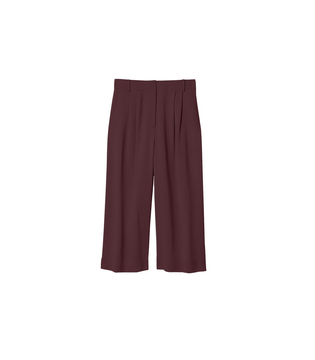 Tibi Wide leg pants Burgundy Stella Wide Leg Cropped Pants