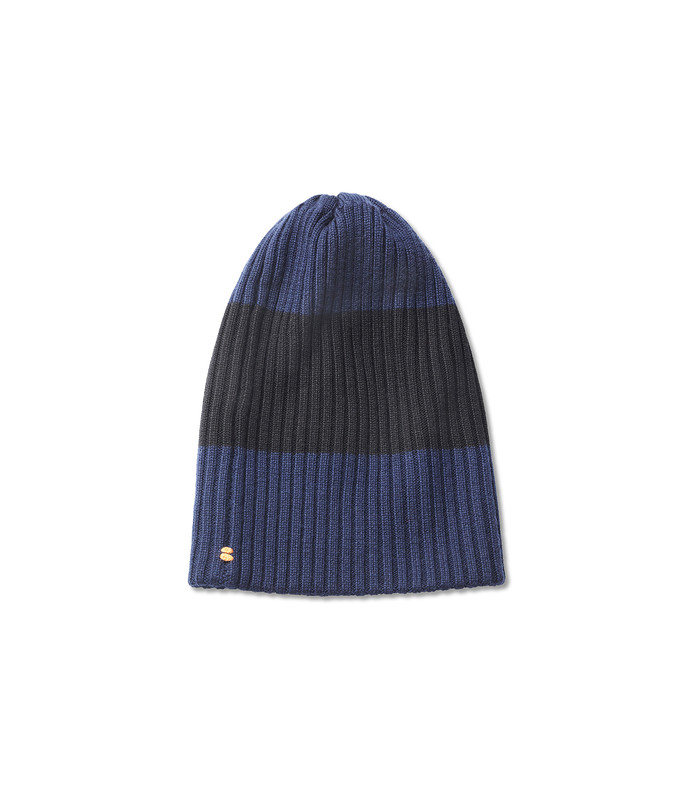 navy/black multicolor wool beanie