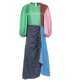 delphina multi stripe shirred long dress